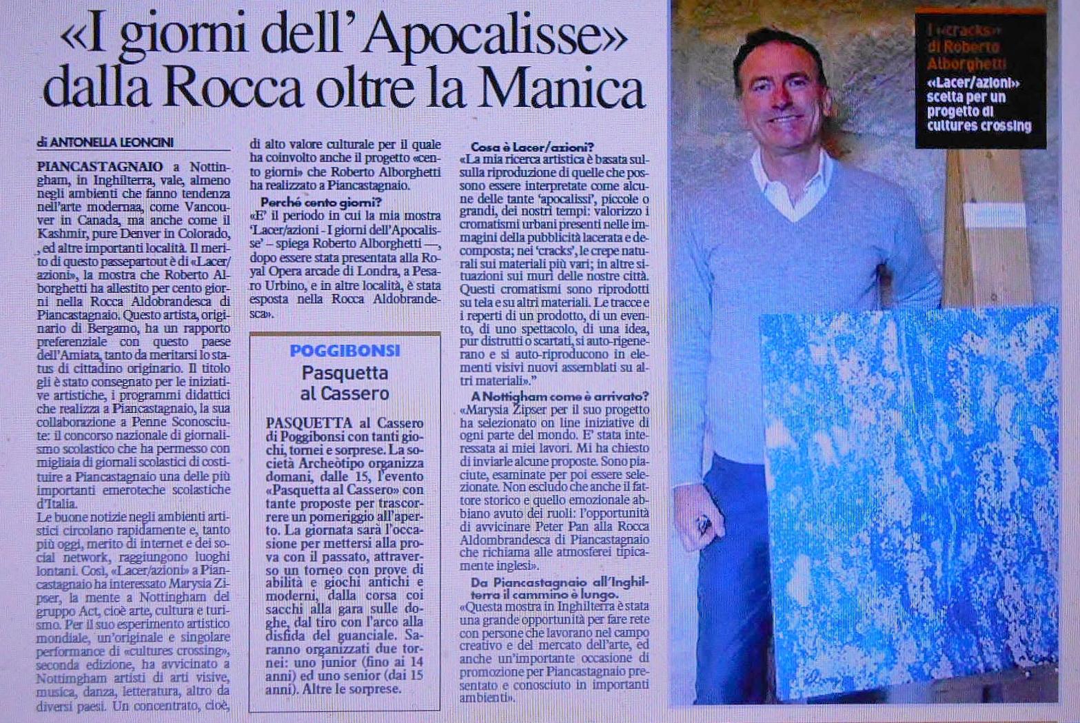 LA NAZIONE Newspaper - April 20, 2014, Story by journalist Antonella Leoncini