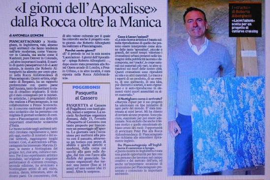 LA NAZIONE Newspaper - April 20, 2014, Story by journalist Antonella Leoncini