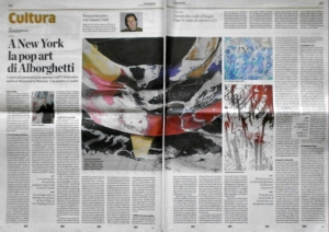 """L'ECO DI BERGAMO"" NEWSPAPER DEDICATES 2 FULL PAGES TO ROBERTO ALBORGHETTI'S ""LACER/ACTIONS"" ART"