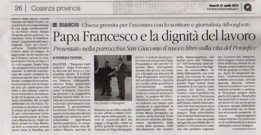 QUOTIDIANO DEL SUD articolo di Pasquale Taverna