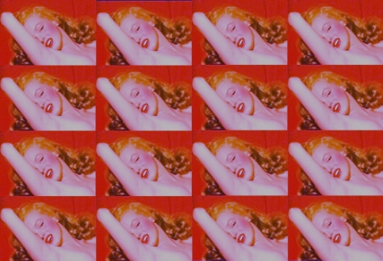 MARILYN REVIVES:  A GRAPHIC LAY OUT OF THE RED VELVET PHOTO (BY ROBERTO ALBORGHETTI)