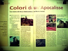 """TWO PAGES ABOUT """"COLORS OF AN APOCALYPSE"""" SHOW ON """"IN ALTUM"""" MAGAZINE; EDITOR IN CHIEF ASKED ROBERTO ALBORGHETTI TO WRITE A PERSONAL STORY ABOUT THE EXHIBITION"""