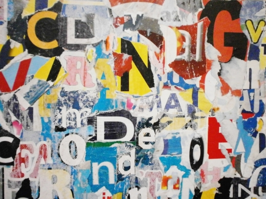 """LOST WORDS"" COLLAGE BY ROBERTO ALBORGHETTI - CREATED WITH 400 PIECES OF WASTE-PAPER FROM TORN PUBLICITY POSTERS"