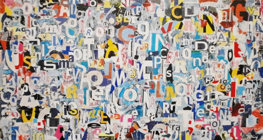 """""""LOST WORDS IN THE RAGE DAYS"""", BY ROBERTO ALBORGHETTI, COLLAGE ON WOOD, 94X51, 2013"""