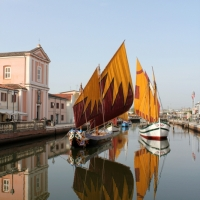THE GENIUS OF LEONARDO DA VINCI DESIGNED IN 1502 THE STUNNING HARBOUR (PORTO CANALE) IN CESENATICO (ITALY)