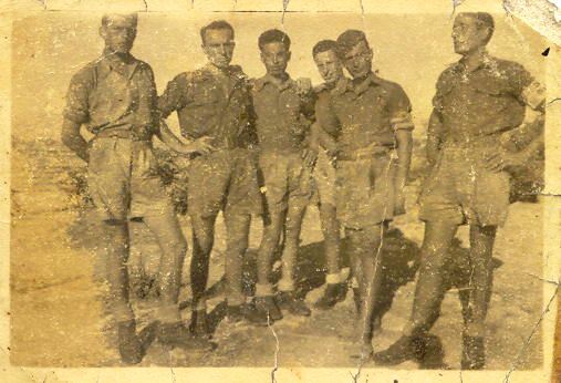 An historical photo: Battista Alborghetti (first on the left) and five fellows in Cefalonia in 1943 before the massacre.