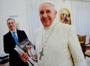 Pope Francis and author Roberto Alborghetti during the private encounter in Casa Santa Marta (Vatican City, Rome) for the presentation of the biography.
