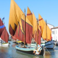 THE SPECTACULAR FLOATING EXHIBITION OF HISTORICAL BOATS SAILING IN THE LEONARDESCO PORT CHANNEL IN CESENATICO (THE ONLY ONE IN ITALY)