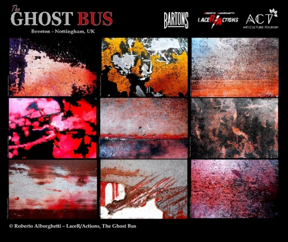 """THE GHOST BUS"", LIMITED-EDITION OFFICIAL POSTER,  PROJECT BY ROBERTO ALBORGHETTI WITH  BARTONS PLC, ACT GROUP (BEESTON-NOTTINGHAM, UK, JAN-MAR 2015) ."