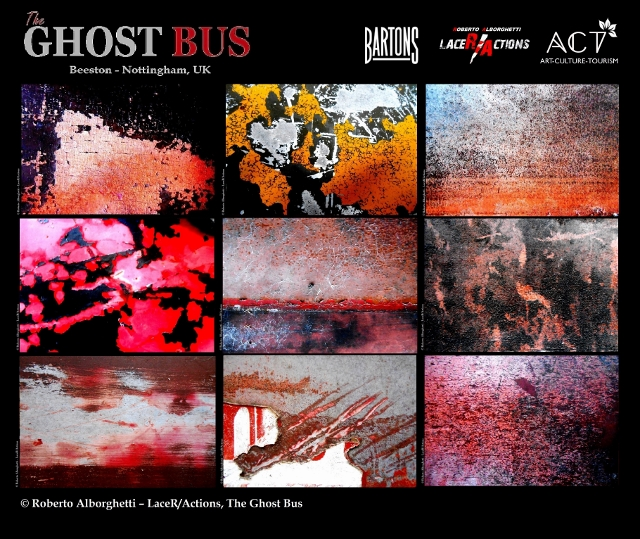 """""""THE GHOST BUS"""", LIMITED-EDITION OFFICIAL POSTER,  PROJECT BY ROBERTO ALBORGHETTI WITH  BARTONS PLC, ACT GROUP (BEESTON-NOTTINGHAM, UK, JAN-MAR 2015) ."""