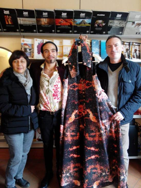 Mitrani Yarden and Roberto Alborghetti with the Volcano Dress during a special presentation at Agenzia Re Ratchis (Abbadia S.S. - Siena - Tuscany)