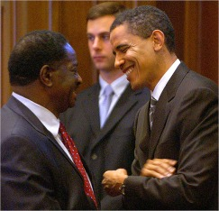 President Barack Obama and Renèe's Father Emil Jones Jr.