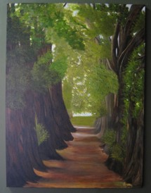 "Renèe LaVerne Rose: Walking Parker's Path 40'h x w 30"" oil on canvas"
