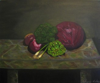 "Renée LaVerné Rose : Honey We're Having Cabbage Tonight! 18"" h x 24""w oil on canvas."