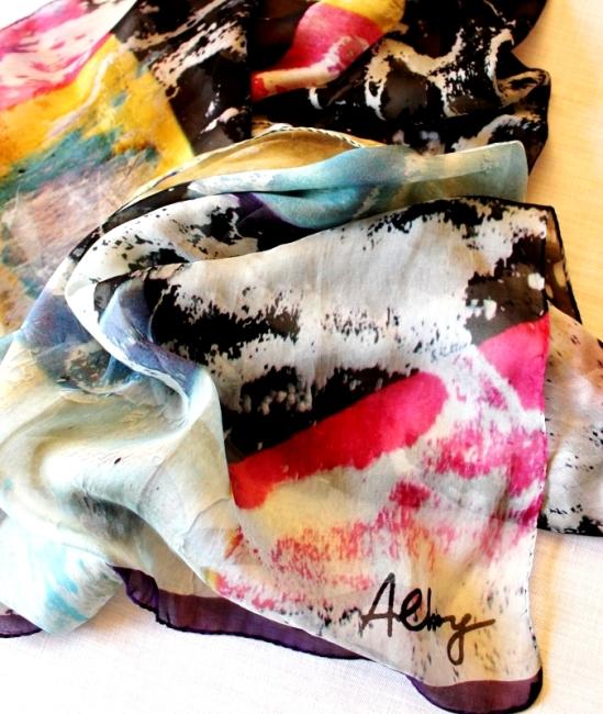 2 Roberto Alborghetti - Laceractions, Silk scarf, Limited edition